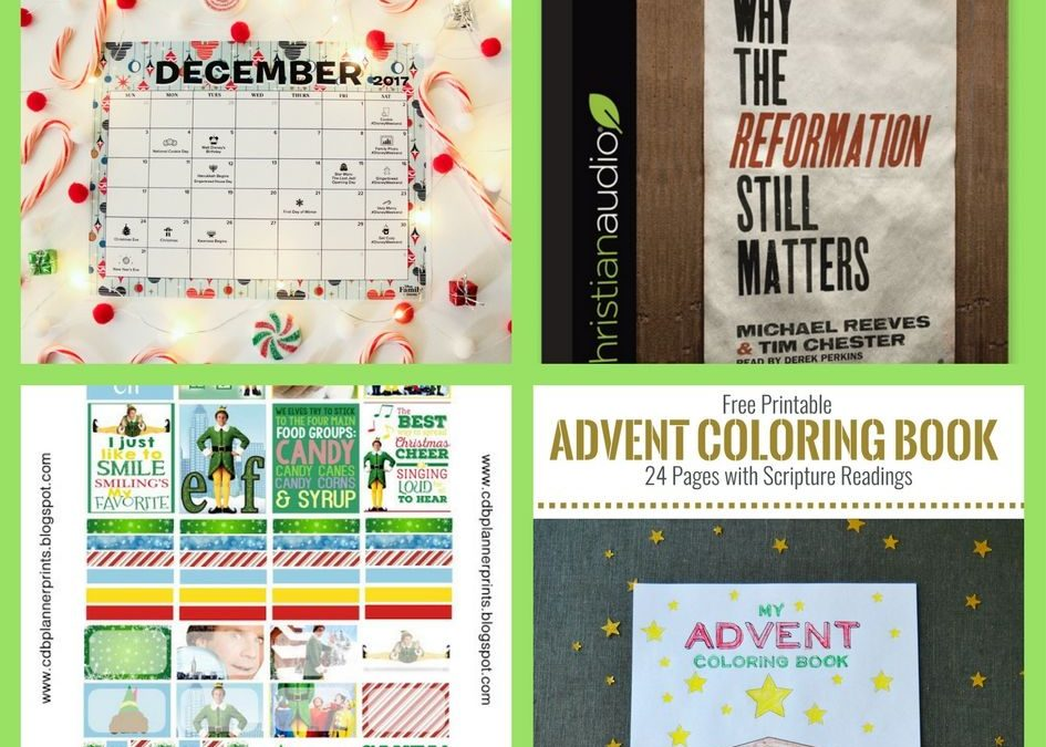 FOUR (4!) FREEbies: Disney December Calendar, Christian Audiobook, Elf Printable Planner Stickers and Printable Advent Coloring Book!