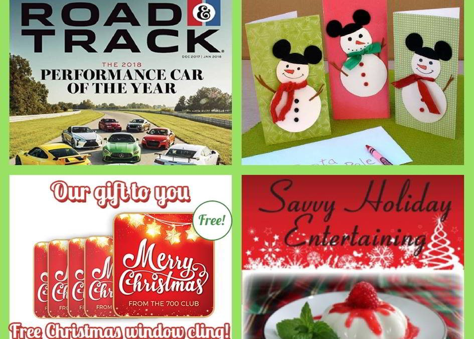 FOUR (4!) FREEbies: One-Year Subscription to Road & Track Magazine, Christmas Mickey Mouse Snowman Cards, Merry Christmas Window Cling and Savvy Holiday Entertaining eBook!