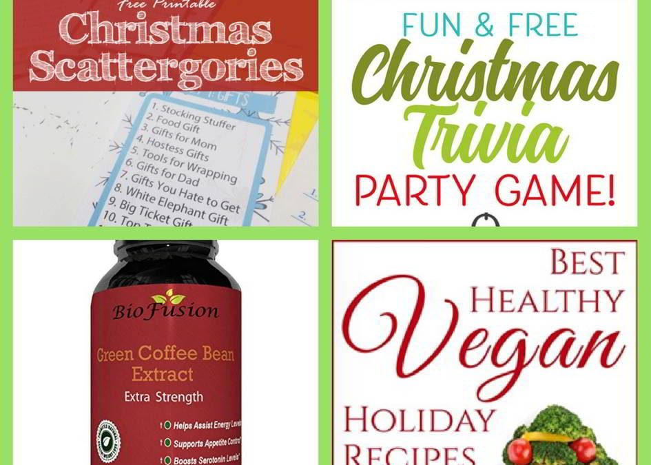 FOUR (4!) FREEbies: Christmas Scattergories Printable, Printable Christmas Trivia, Biomuch Products and Best Healthy Vegan Holiday Recipes eBook!