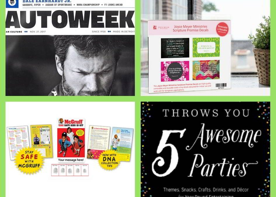 FOUR (4!) FREEbies: One-Year Subscription to Autoweek Magazine, Joyce Meyer Scripture Promise Decals, McGruff Safe Kit and Party Planning eBook!