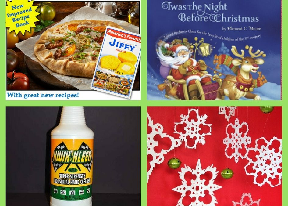 FOUR (4!) FREEbies: Jiffy Mix Cookbook, Twas The Night Before Christmas eBook, Hand Cleaner and Mickey Paper Snowflakes Printable!