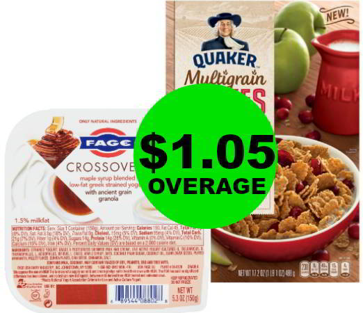 Grab FREE + $1.05 Overage on Fage Yogurt & FREE Quaker Multigrain Flakes Cereal at Publix! Clip Now!