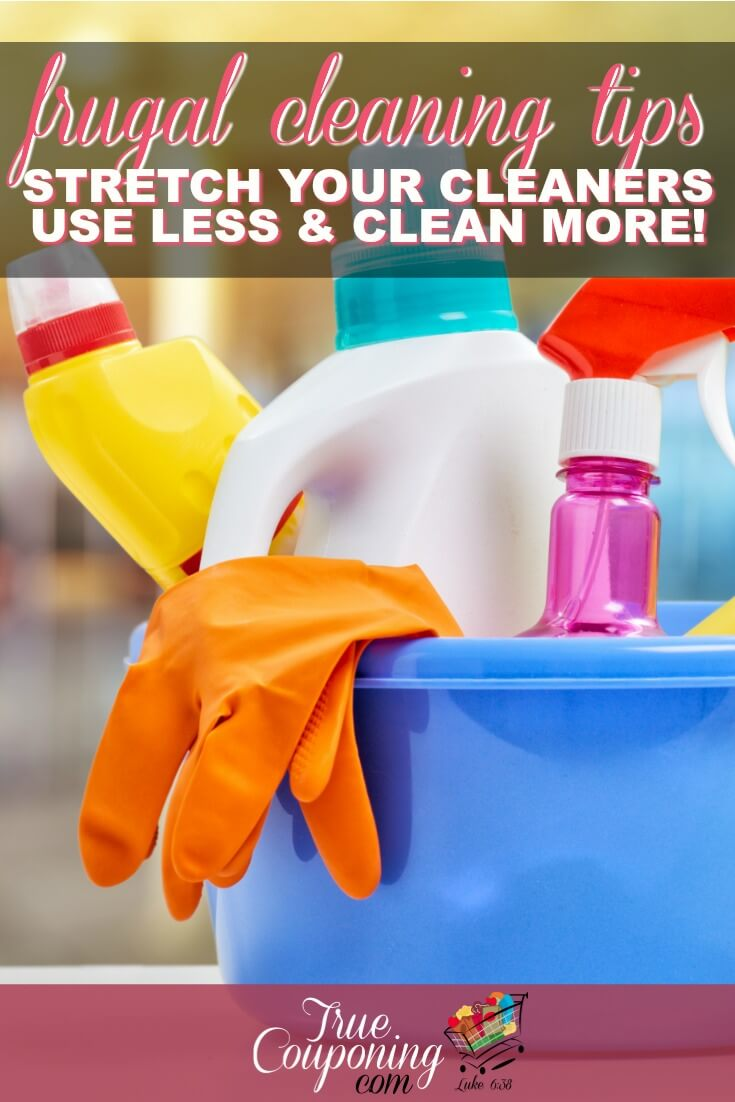 Cleaning is a neverending task that can become costly. Stretch your cleaning supplies to the max and save some money every month with these tips! #savingmoney #springcleaning #truecouponing #savemoney #truecleaning