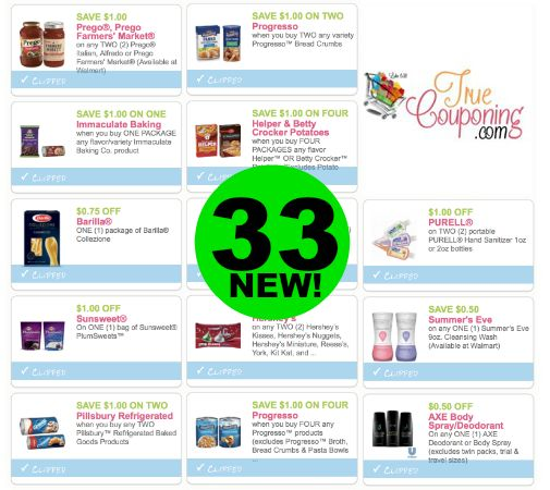 PRINT NOW the THIRTY-THREE (33!) **New** Coupons That Came Out TODAY!