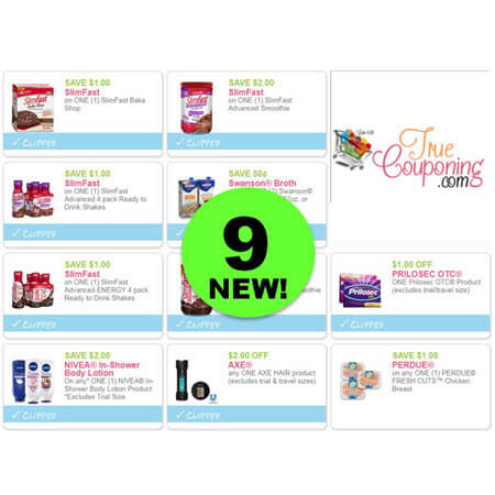 There's NINE (9!) NEW Coupons Out Today! Save on Axe, Slimfast, Nivea & More!