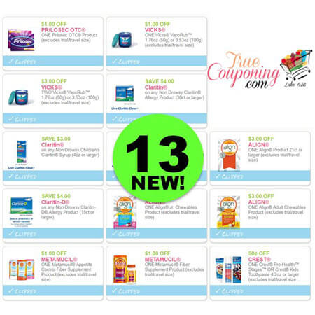 There's Thirteen (13!) NEW Coupons Out Today! Print NOW to Save on Vicks, Claritin, Crest & More!