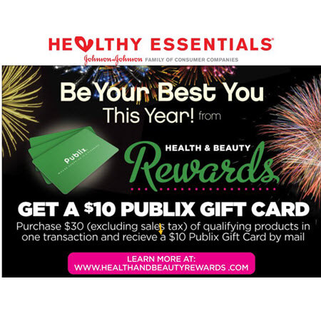 FREE $10 Publix Gift Card wyb $30 with Johnson & Johnson Health & Beauty Rewards! (Valid 12/30-2/28)