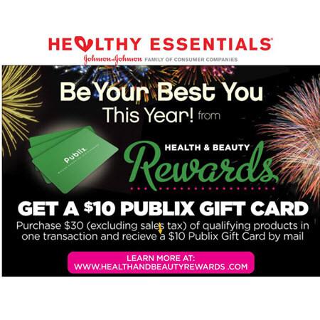 FREE $10 Publix Gift Card wyb $30 with Johnson & Johnson Health & Beauty Rewards! (Valid 12/30-2/28)