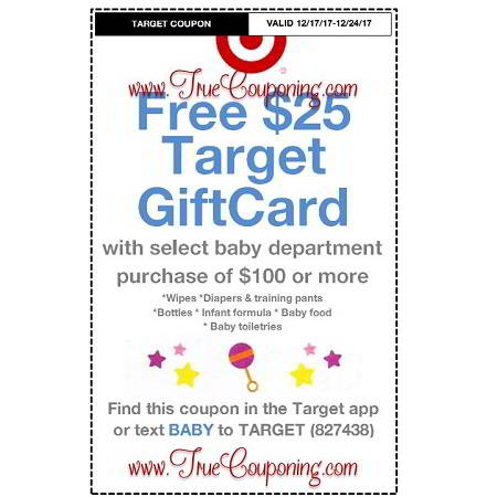 Heads Up! This Sunday (12/17/17) We're Getting a FREE $25 Gift Card wyb $100 Baby Department Target Coupon!