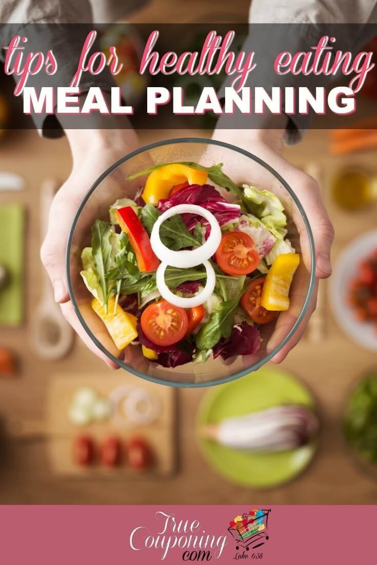 Sick of wondering what you'll be eating tonight, running out of food, or falling victim to a drive-thru window again? Learn how to quickly make a HEALTHY meal plan with less effort. #mealplanning #mealprep #savingmoney #truecouponing