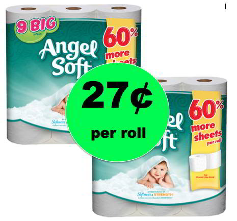Stock Up on Angel Soft Bath Tissue ONLY 27¢ per Roll at Walgreens! Right Now!