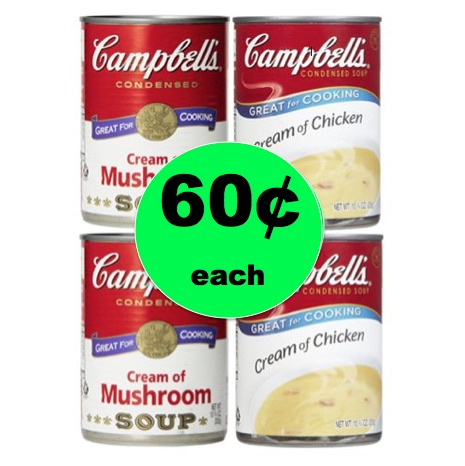 Pick Up Campbell's Cream of Chicken or Mushroom Soup ONLY 60¢ Each at Winn Dixie! (Ends 12/26)
