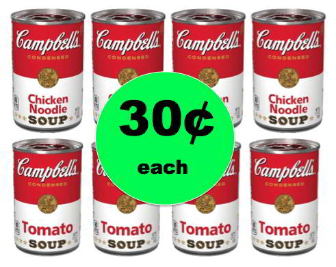 Warm Up with Soup! Campbell's Chicken Noodle or Tomato Soup ONLY 30¢ Each at Winn Dixie! This Weekend!