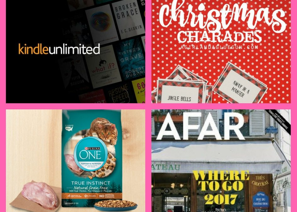 FOUR (4!) FREEbies: 60-Day Kindle Unlimited Membership, Christmas Charades Game, Purina One Cat Food and One-Year Subscription to AFAR Magazine!