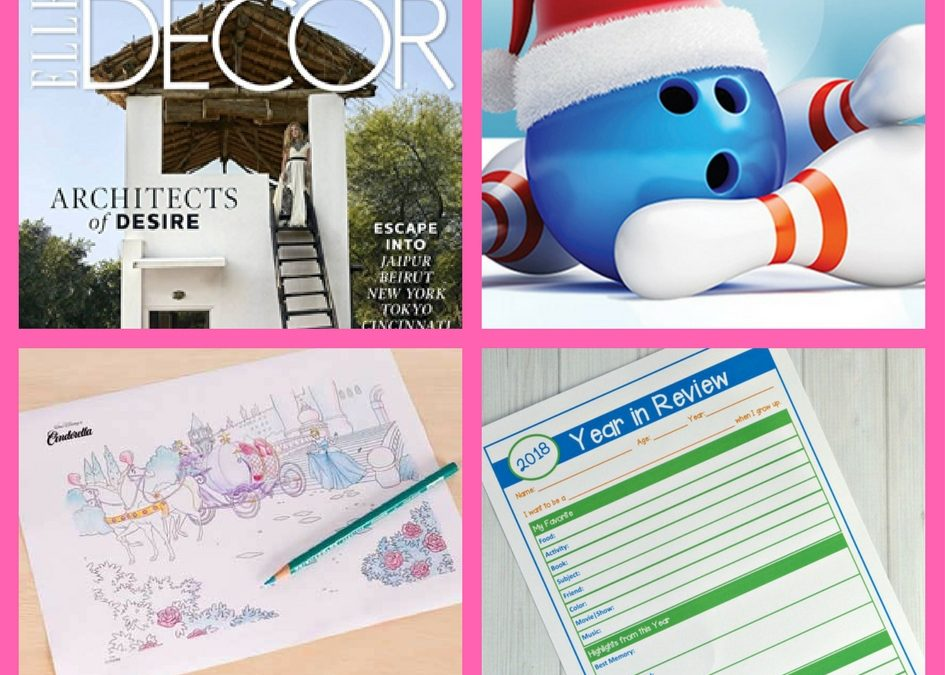 Did Your See These FOUR (4!) FREEbies: One-Year Subscription to Elle Decor Magazine, Game of Bowling, Princess Coloring Page and Year in Review Printable!