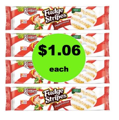 Tame the Cookie Monster with $1.06 Keebler Fudge Stripes Peppermint Cookies at Walmart!
