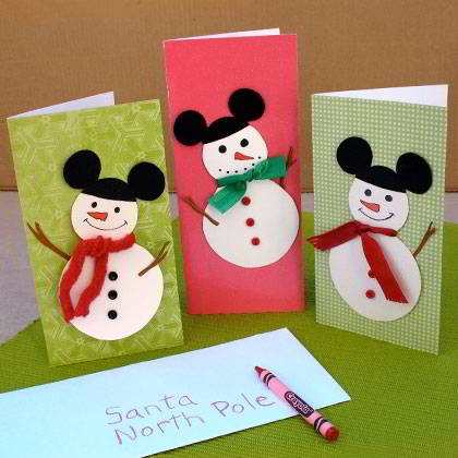 FREE Christmas Mickey Mouse Snowman Cards!