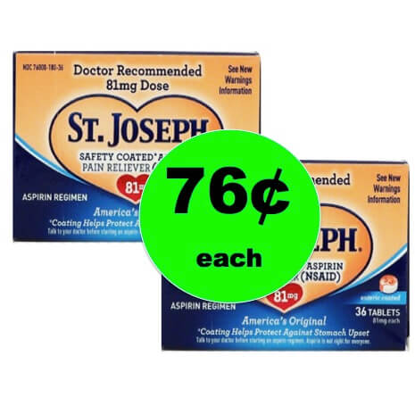 Snag St. Joseph Aspirin Only 76¢ at Walmart! Going On Now!