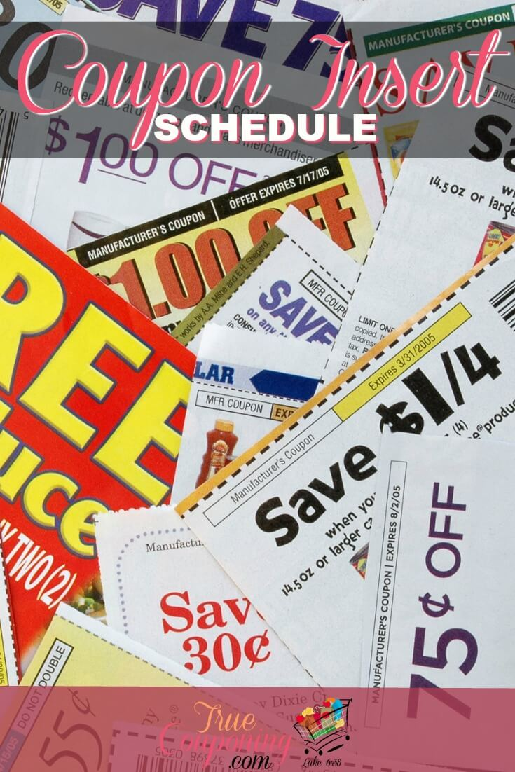Newspaper coupon inserts schedule 2018
