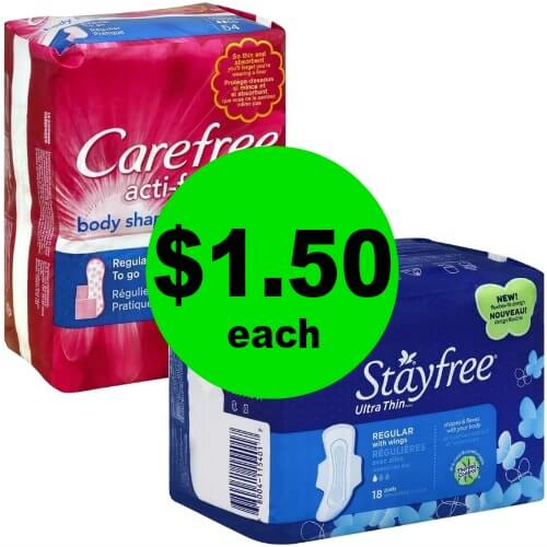 Ladies! This is For You! Grab $1.50 Carefree Liners or Stayfree Pads at Publix! (Ends 1/12)