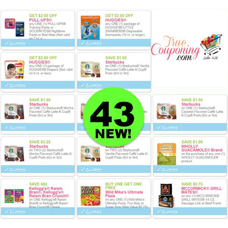 PRINT The Forty-Three (43!) NEW Coupons Out Right Now! Save on Huggies, Starbucks, Schick, & More!