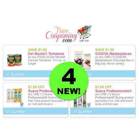 WOW! There's FOUR (4!) NEW Coupons for Del Monte, Godiva & Suave! PRINT Now!