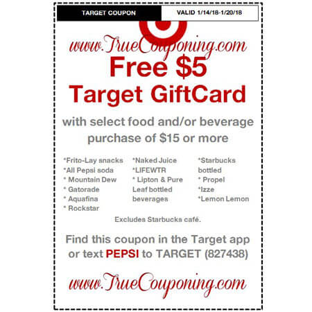 Heads Up! this Sunday (1/14/18) We're Getting a FREE $5 Gift Card wyb $15 of Select Food/Beverage Target Coupon!