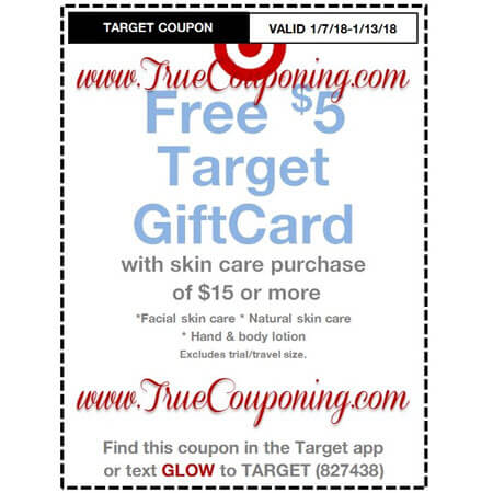 Heads Up! this Sunday (1/7/18) We're Getting a FREE $5 Gift Card wyb $25 Nutrition & Vitamins AND FREE $5 Gift Card wyb $15 Skin Care Target Coupons!