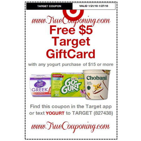 Heads Up! This Sunday (1/21/18) We're Getting a FREE $5 Gift Card wyb $15 of Yogurt AND a FREE $20 Gift Card wyb $100 of Baby Dept. Target Coupon!