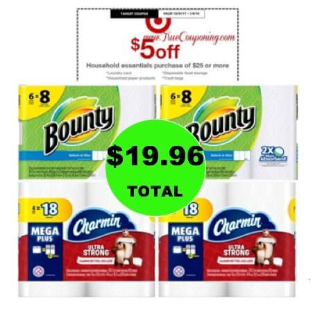 For Just $19.96, Get (2) Bounty Big Roll 6 Packs & (2) Charmin Mega Roll 4 Packs at Target! (Ends 1/6)