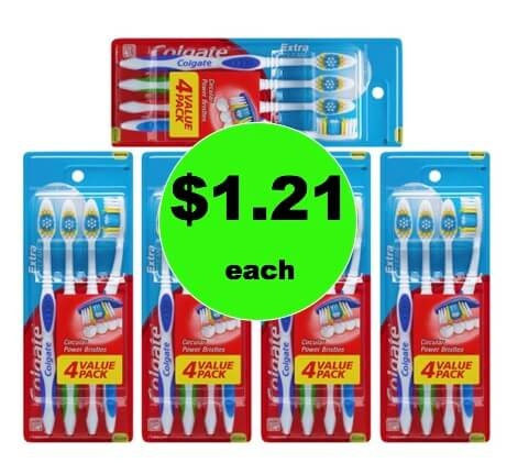 STOCK UP with $1.21 Colgate Extra Clean Toothbrush 4 Packs (Just 30¢ Per Toothbrush) at Walmart!