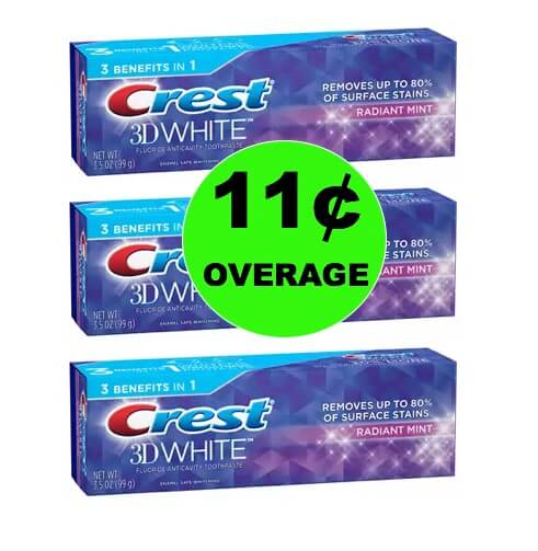 THREE (3!) FREE + 11¢ OVERAGE on Crest Toothpaste at Walgreens! (Ends 1/6)