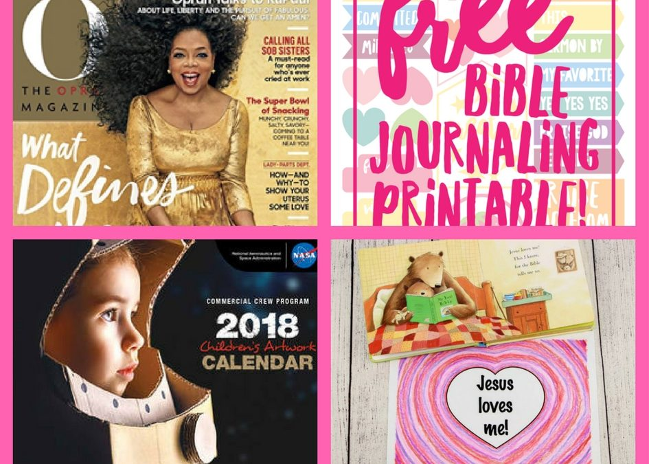 Did You See These FOUR (4!) FREEbies: One Year Subscription to Oprah Magazine, Bible Journaling Printable, NASA 2018 Artwork Calendar Printable and Jesus Loves Me Valentine's Day Craft!