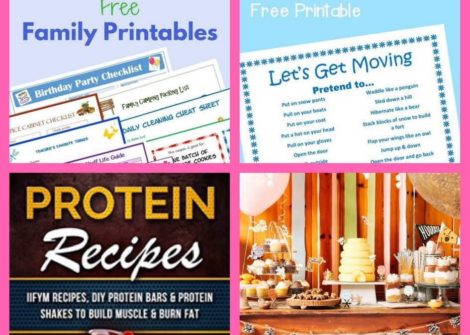Did You See These FOUR (4!) FREEbies: Family Binder Printables, Winter Activity Printable, Protein Recipes and Winnie the Pooh Winter Party Printables!