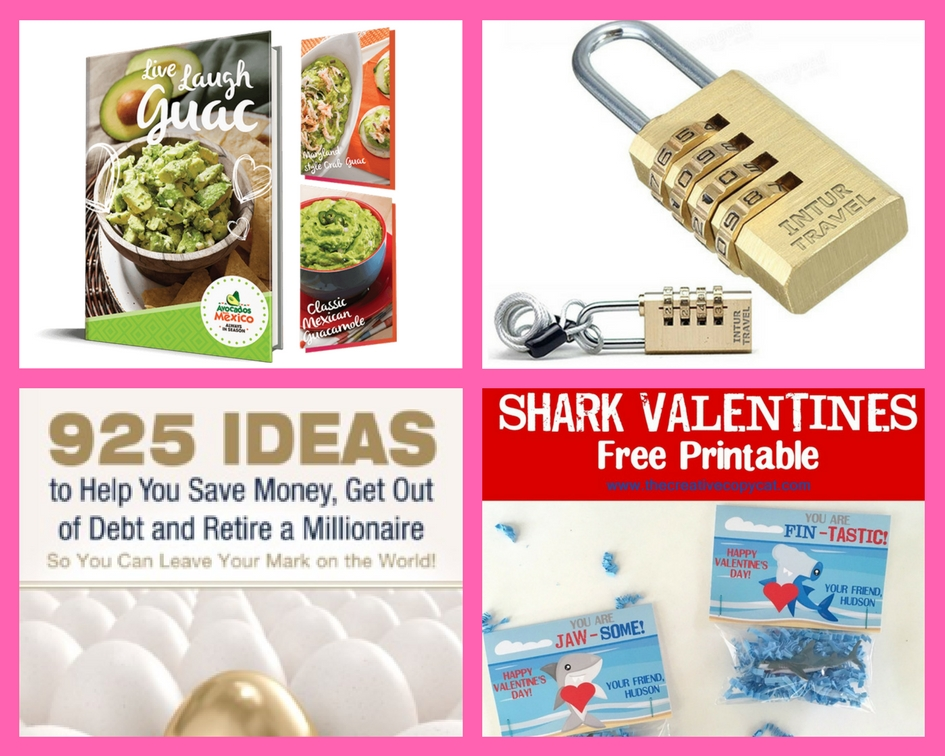 Don't Miss Your Chance to Request These FOUR (4!) FREEbies: Avocado Recipe eBook, Luggage Lock, Savings eBook and Shark Valentine's Printable!