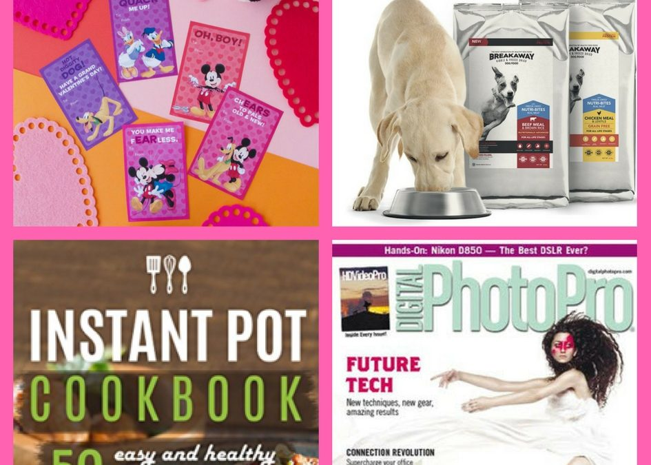 Did You See These FOUR (4!) FREEbies: Mickey & Friends Valentines, Instant Pot Cookbook, Annual Subscription to Digital Photo Pro Magazine and Texas Mill's Breakaway Dog Food!