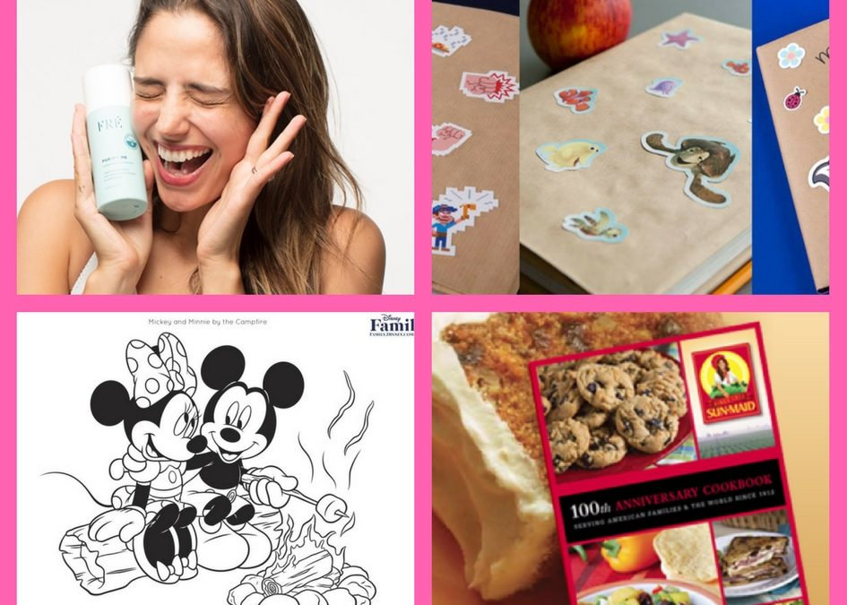 Have You Seen These FOUR (4!) FREEbies: FRE Skincare Product, Disney Family Stickers, Disney Coloring Pages and Sun Maid Cookbook!