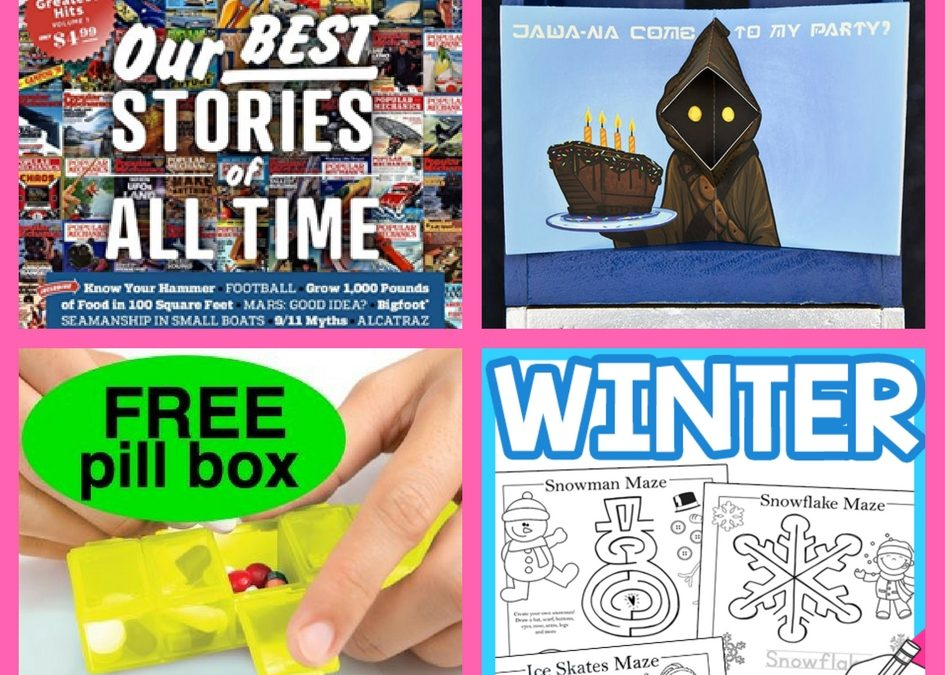 Did You See These FOUR (4!) FREEbies: One-Year Subscription to Popular Mechanics, Star Wars Jawa Pop-Up Card, GoodRx Pill Box and Seasonal Maze Printables!