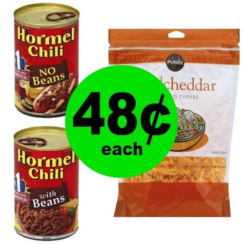 Warm up with 48¢ Hormel Chili & Publix Shredded Cheese at Publix! (1/3-1/5 or 1/4-1/5)
