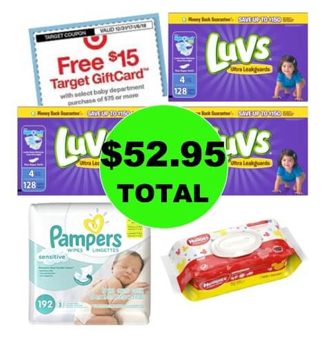 Don't Miss This Deal! For Just $52.95, Get (3) Luvs Diaper Boxes, (1) Wipe Refill & (1) Wipe Single at Target! (Ends 1/6)