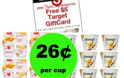 Enjoy Chobani & Market Pantry Yogurt JUST 26¢ Per Cup at Target! (Ends 1/27)