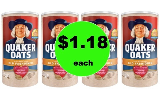 Get a Healthy Start with $1.18 Quaker Oats Oatmeal Canisters at Walmart!