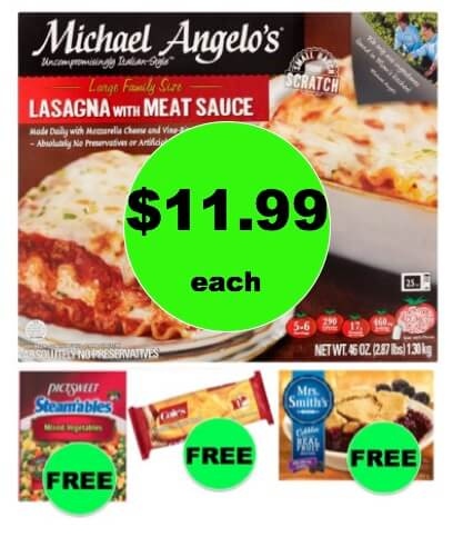 Winn Dixie Meal Deal: Buy ONE (1!) Michael Angelo's Lasagna for $11.99, Get Veggies, Bread, and Cobbler FREE! (1/24 – 1/30)