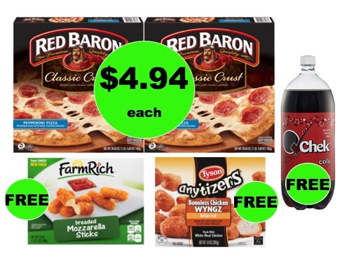 Winn Dixie Meal Deal: Buy TWO (2!) Red Baron Pizzas, Get Appetizer, Chicken and Soda FREE! (1/31-2/6)