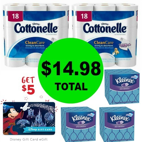 For $14.98, Get (3) Kleenex & (2) Cottonelle 18 Packs PLUS A FREE $5 Disney Gift Card at CVS! (Ends 2/17)