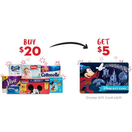 FREE $5 Disney Gift Card wyb $20 of Kimberly Clark Brands Rebate! (Valid 2/1-2/28)