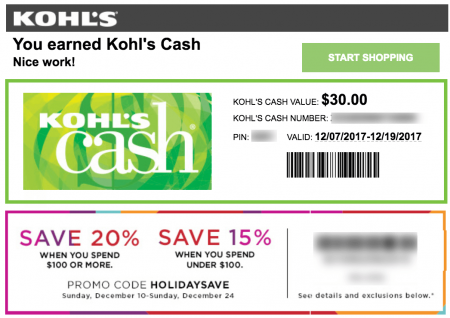 Even better, you can use Kohl's cash with other coupon codes. You can redeem your Kohl's cash online by entering the 15 digit barcode number and 4 digit PIN. Your barcode and PIN are located beneath the barcode on your Kohl's Cash certificate. Remember, Kohl's cash can be used with free shipping codes and 30% off Kohl's coupon codes%(K).