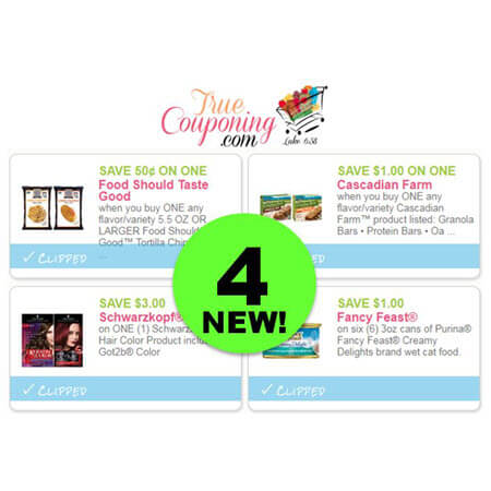 PRINT The FOUR (4!) NEW Coupons Today for Food Should Taste Good, Cascadian Farm, Schwarzkopf Hair Color & Fancy Feast!