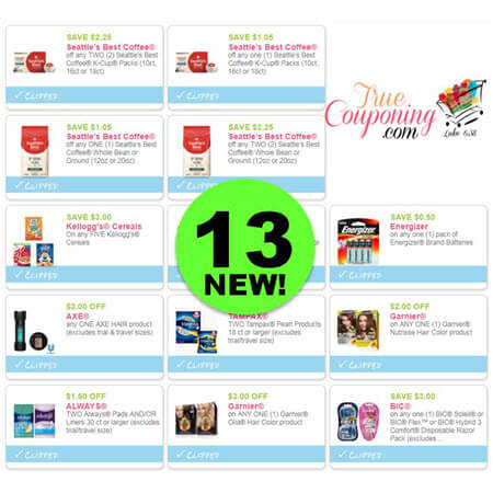 PRINT the Thirteen (13!) NEW Coupons for Seattle's Best Coffee, Kellogg's, Garnier & More!
