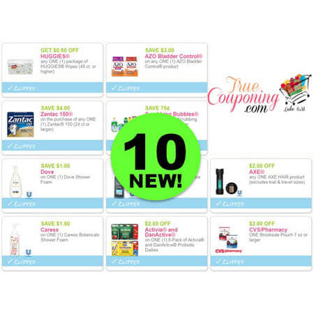 PRINT the NEW TEN (10!) Coupons for Dove, Axe, Caress, Zantac & More!